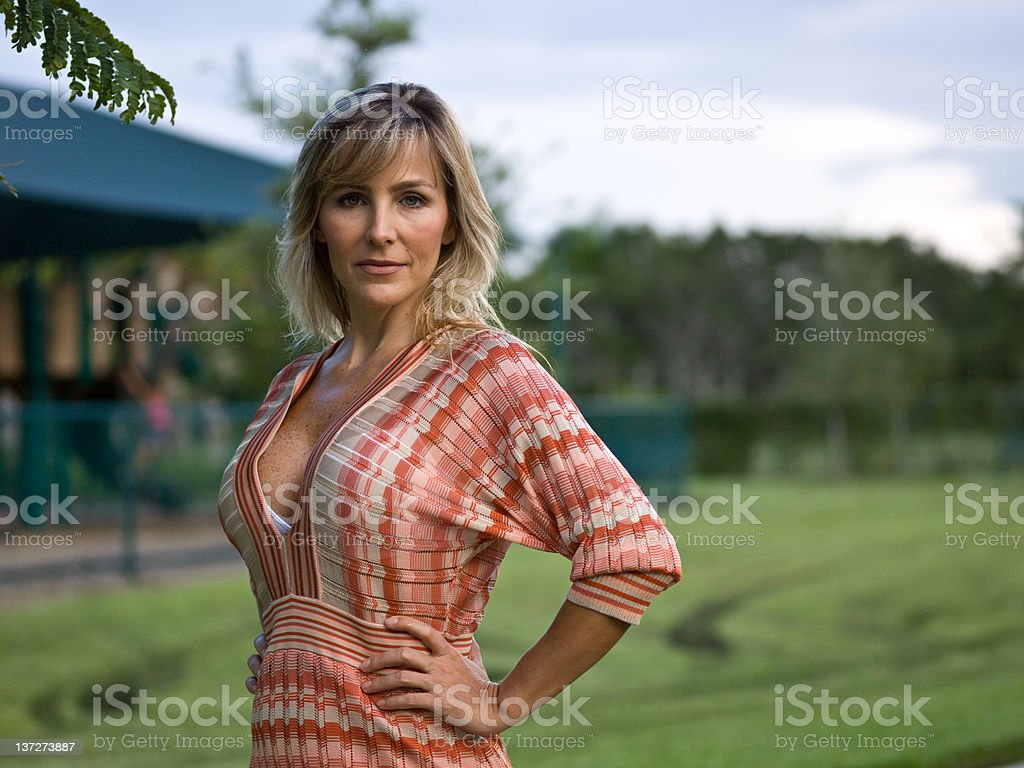 Stunning at her forties stock photo