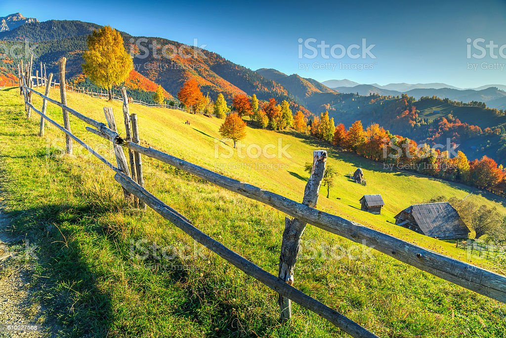 Stunning autumn rural landscape near Bran,Transylvania,Romania,Europe stock photo