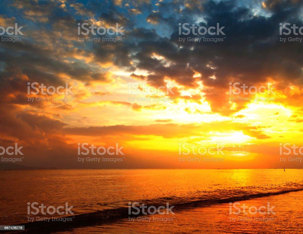 Stunning beautiful sunset stock photo