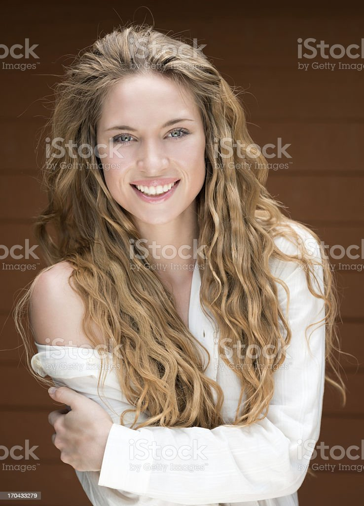 Stunning Blond Beauty, Long Natural Hair royalty-free stock photo