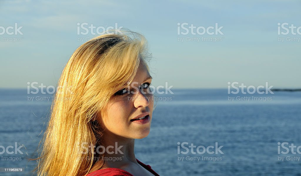 Stunning Blonde by the Sea royalty-free stock photo