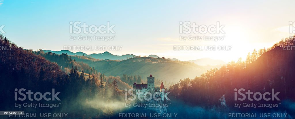 Stunning Bran castle at sunset stock photo