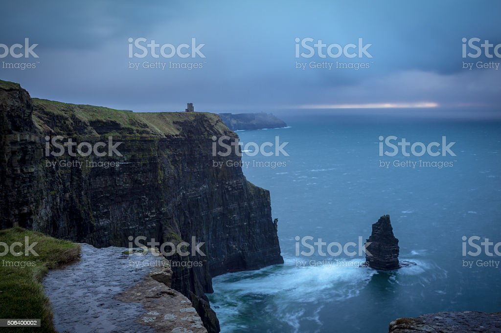 Stunning Cliffs Of Moher With Rain Coming stock photo