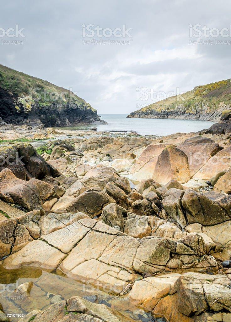Stunning coastline and beaches around Port Quin. stock photo