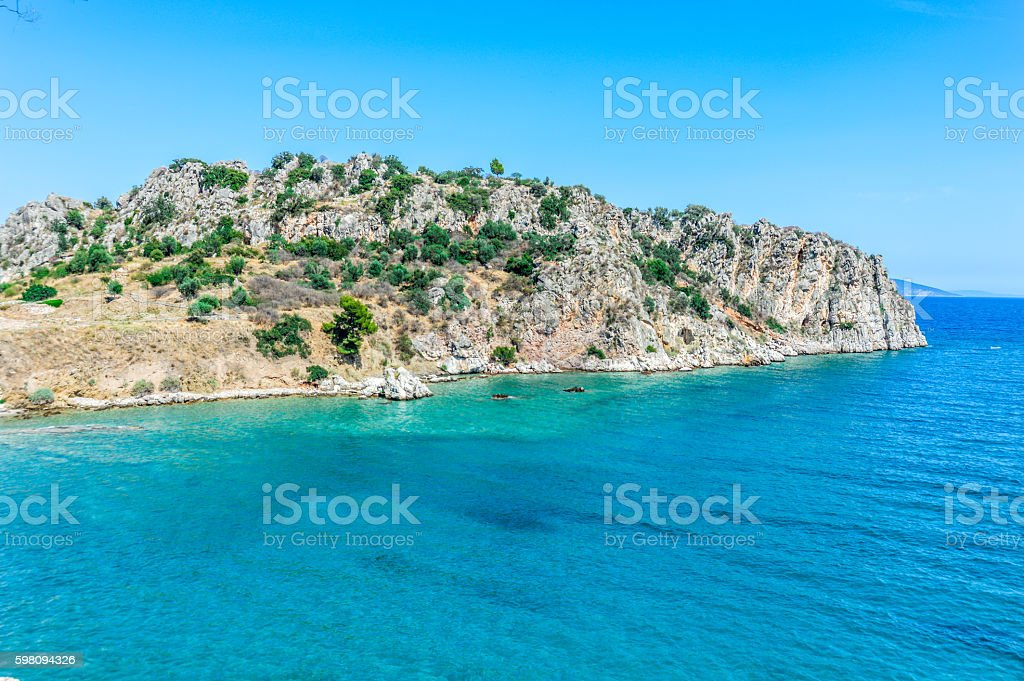 Stunning coastline and turquoise water in Greece stock photo