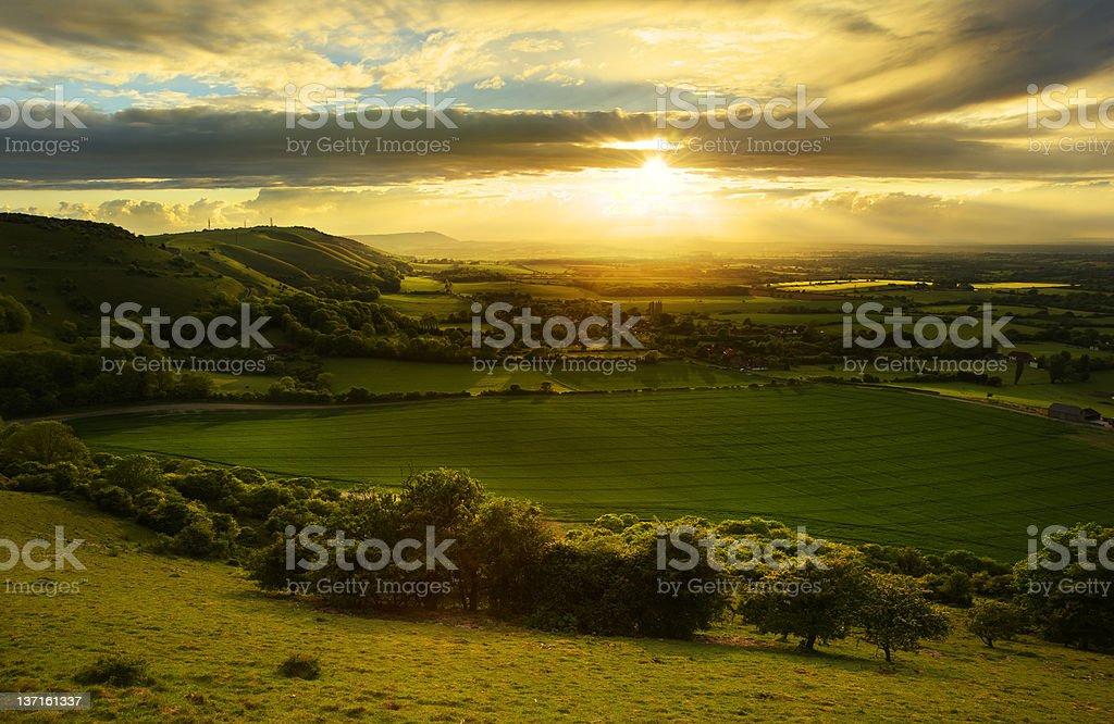 Stunning countryside landscape at sunset stock photo