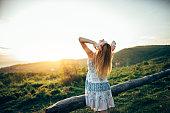 Stunning girl in sunset
