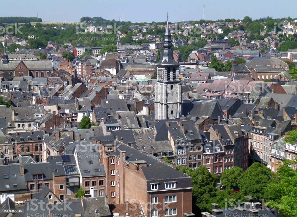 Stunning historic buildings with the impressive tower, Belgium stock photo