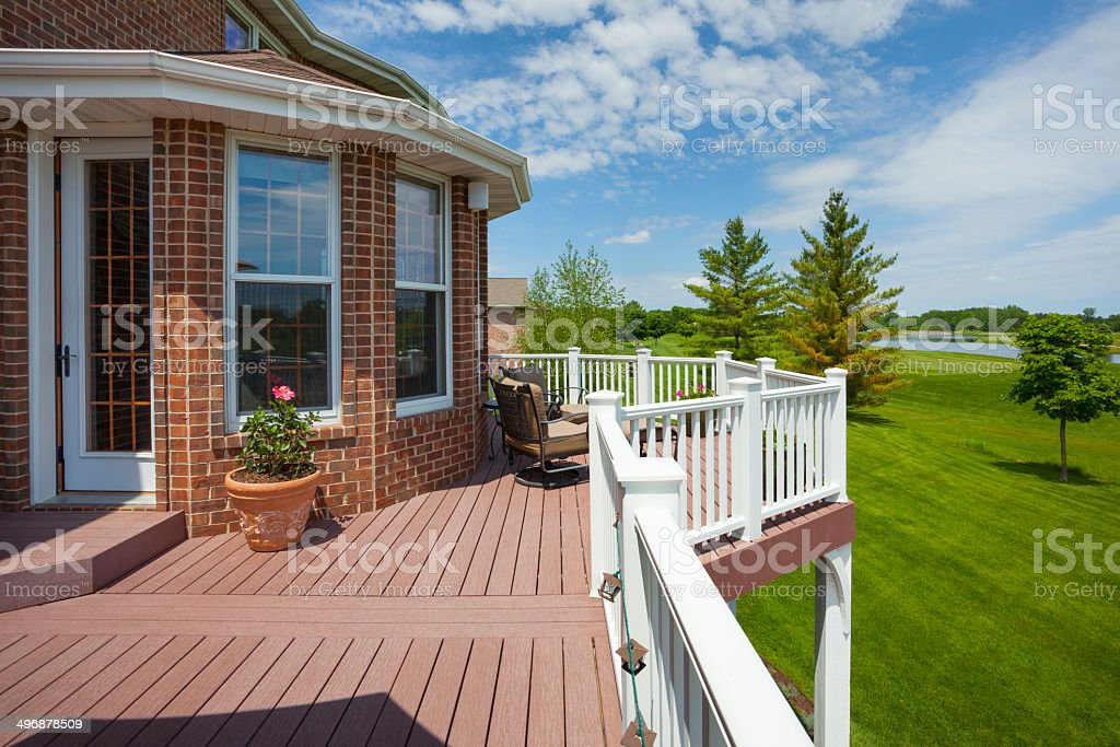 Stunning Home Deck With View of Golf Course stock photo