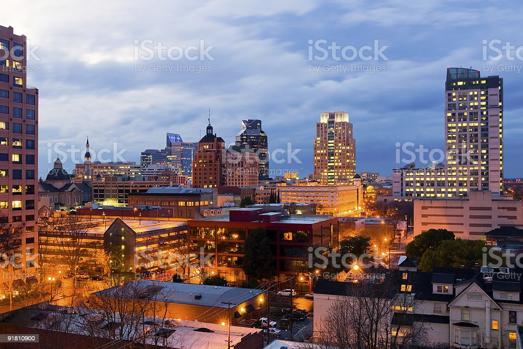 A stunning image of Sacramento in the evening royalty-free stock photo