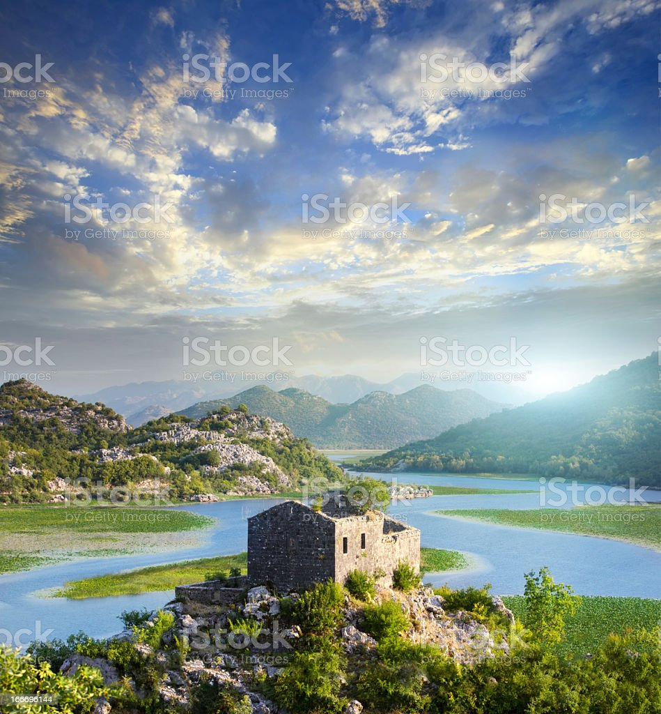 Skadar lake in Montenegro stock photo
