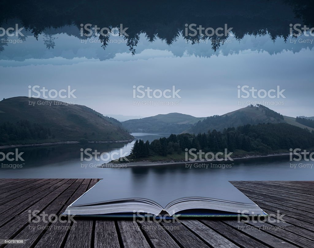 Stunning impossible puzzling conceptual landscape image of lake stock photo