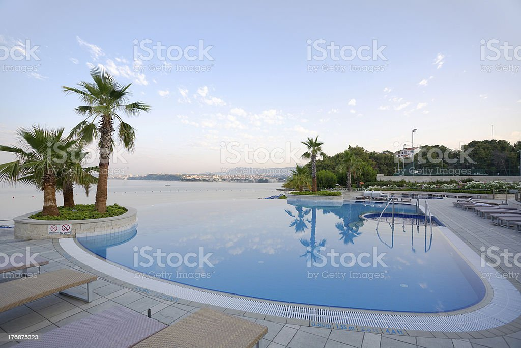 Stunning infinity pool in luxury hotel, Europe royalty-free stock photo