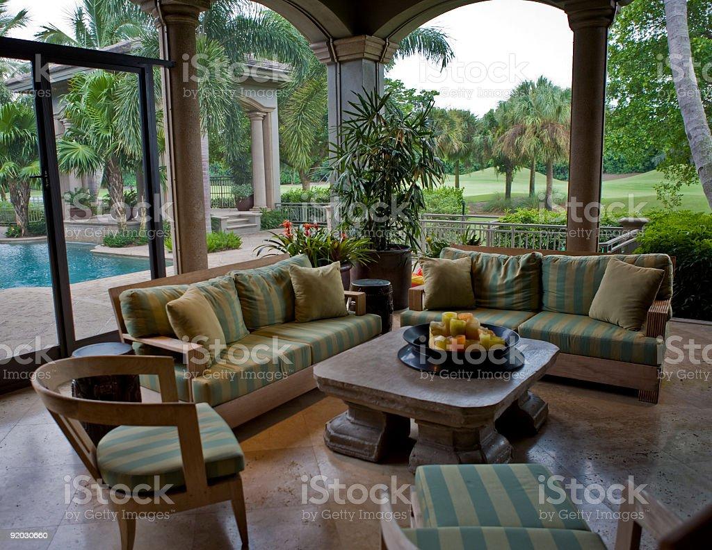 Stunning Lanai in Estate Home Next to Golf Course stock photo