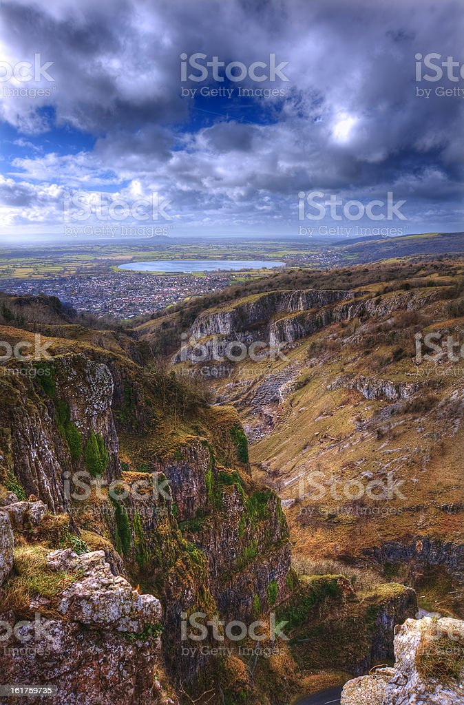 Stunning landscape across top of ancient mountainS royalty-free stock photo