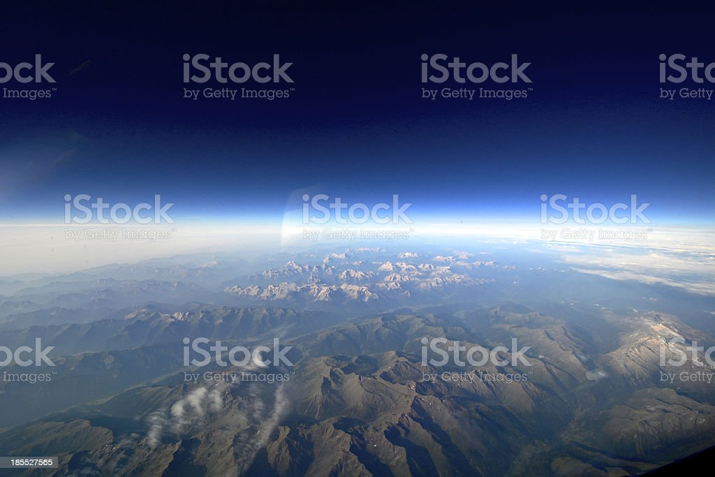 Stunning landscape aerial view of mountains and sky royalty-free stock photo