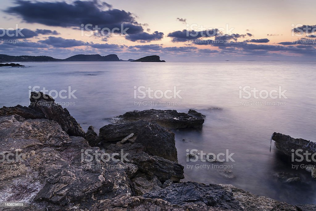 Stunning landscape dawn sunrise with rocky coastline Mediterranean Sea royalty-free stock photo