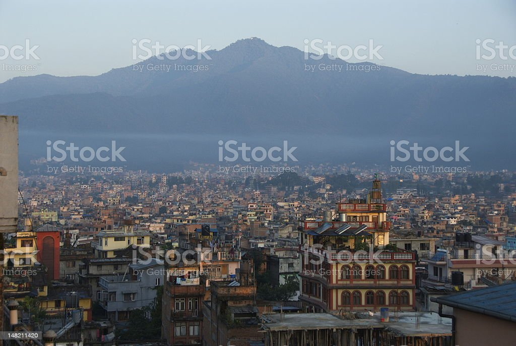 Stunning landscape of Kathmandu and surrounding mountains stock photo