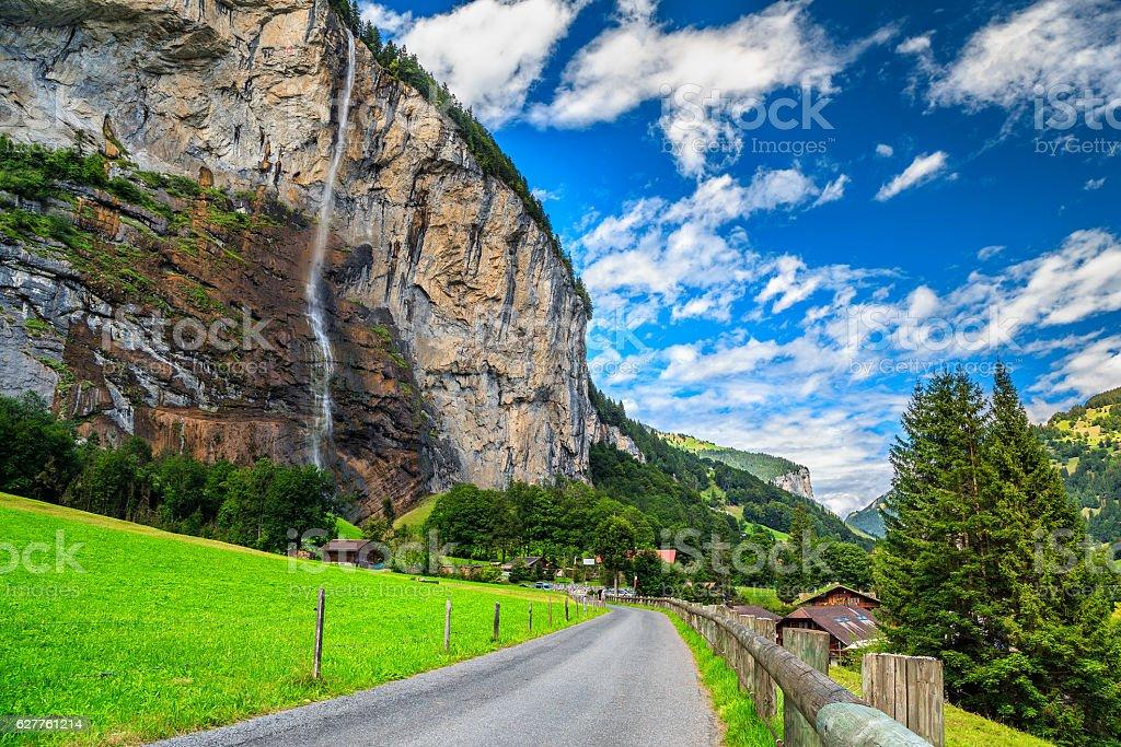 Stunning Lauterbrunnen town and Staubbach waterfall,Bernese Oberland,Switzerland,Europe stock photo