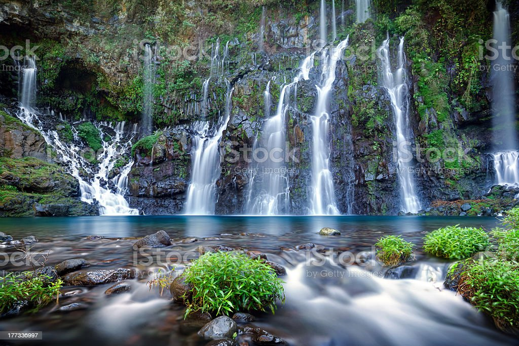 A stunning nature photograph with waterfalls  stock photo