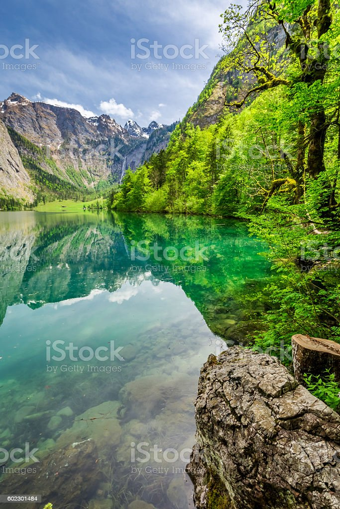 Stunning Obersee lake in Alps, Germany stock photo