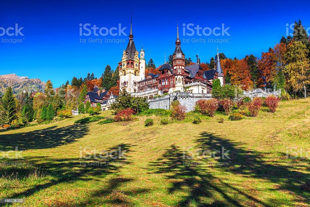 Stunning ornamental garden and royal castle,Peles,Sinaia,Transylvania,Romania stock photo