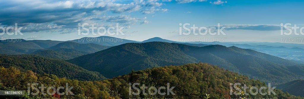 A stunning panorama of Blue Ridge Mountains stock photo