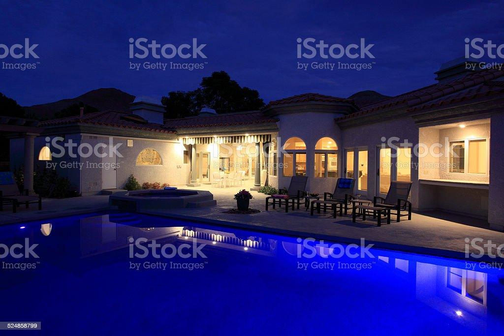 1980`s Spanish Mediterranean architecture. Evening on the luxurious...