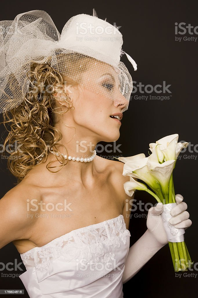 Stunning retro bride profile royalty-free stock photo