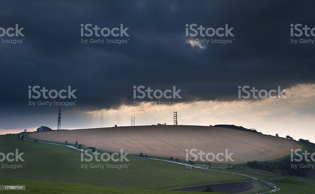 Stunning scene across escarpment countryside landscape with beautiful cloud formations royalty-free stock photo