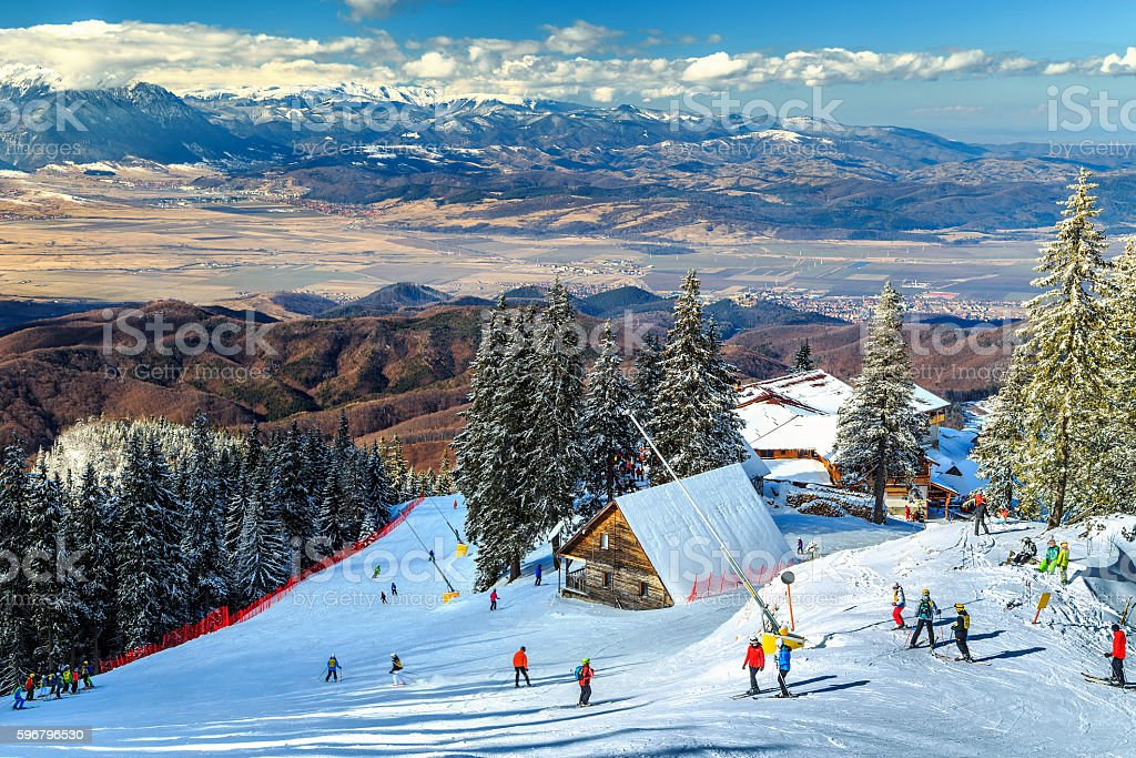 Stunning ski resort in the Carpathians,Poiana Brasov,Romania,Europe stock photo