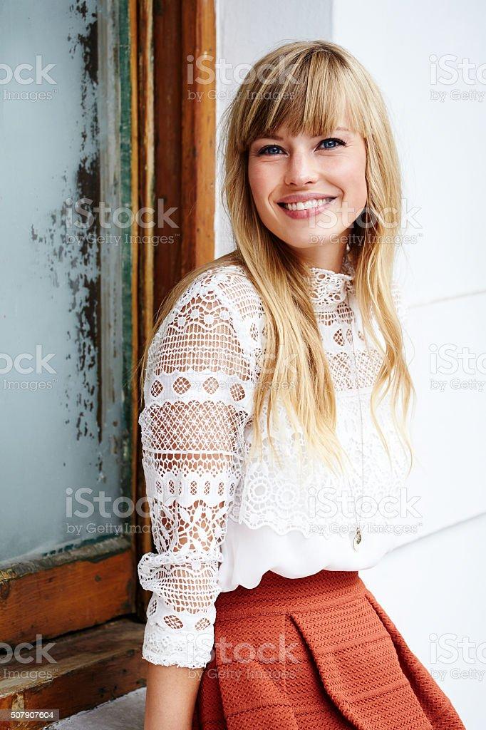 Stunning smiling beauty stock photo