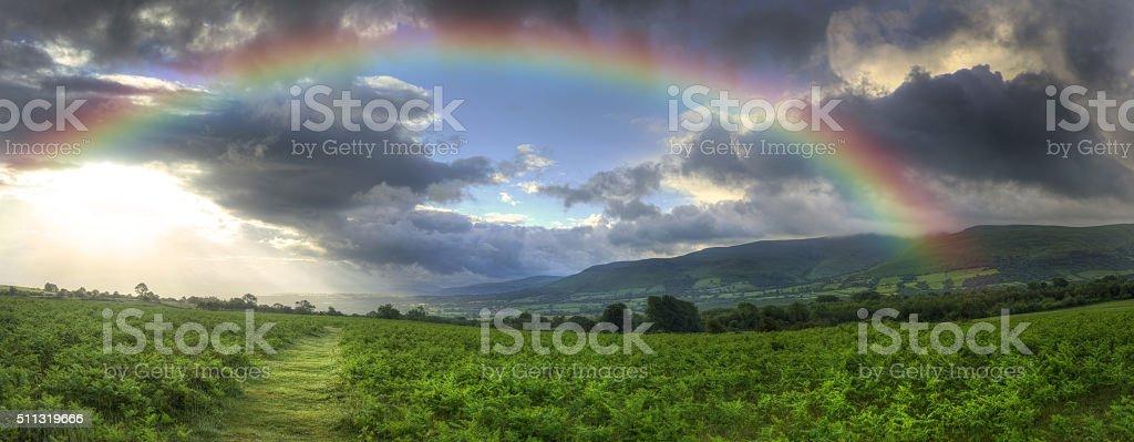 Stunning Summer sunset across countryside landscape with dramati stock photo
