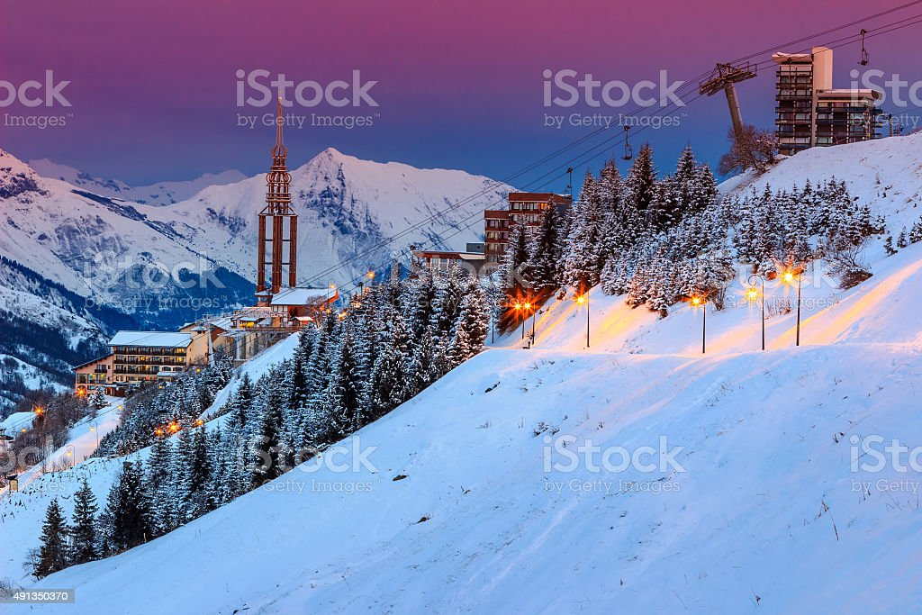 Stunning sunrise and ski resort in the French Alps,Europe stock photo