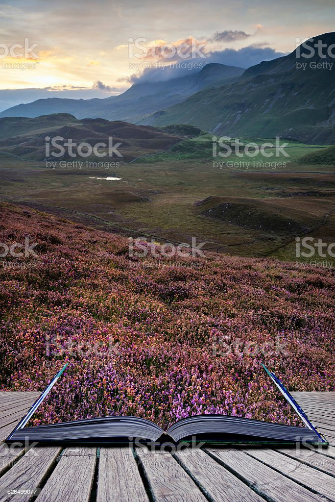 Stunning sunrise mountain landscape with vibrant colors and beau stock photo