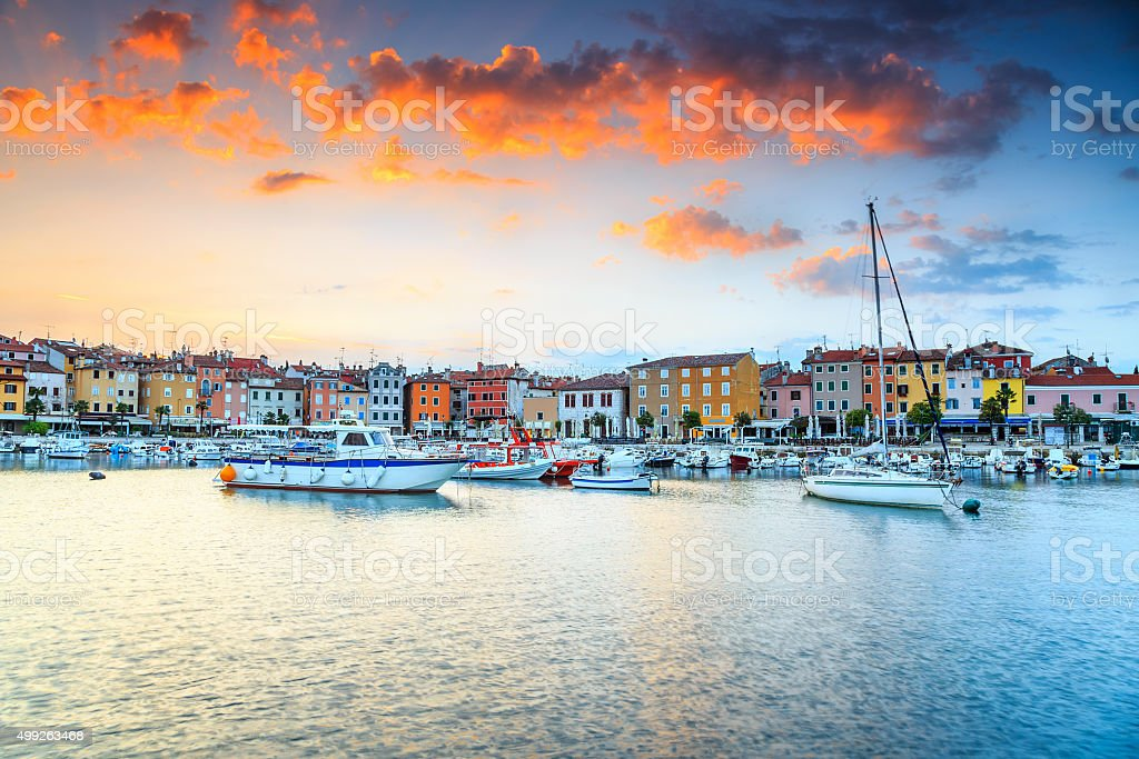 Stunning sunrise with Rovinj old town,Istria region,Croatia,Europe stock photo