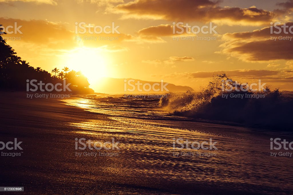 Stunning sunset at Turtle Beach near Haleiwa; North shore Oahu stock photo