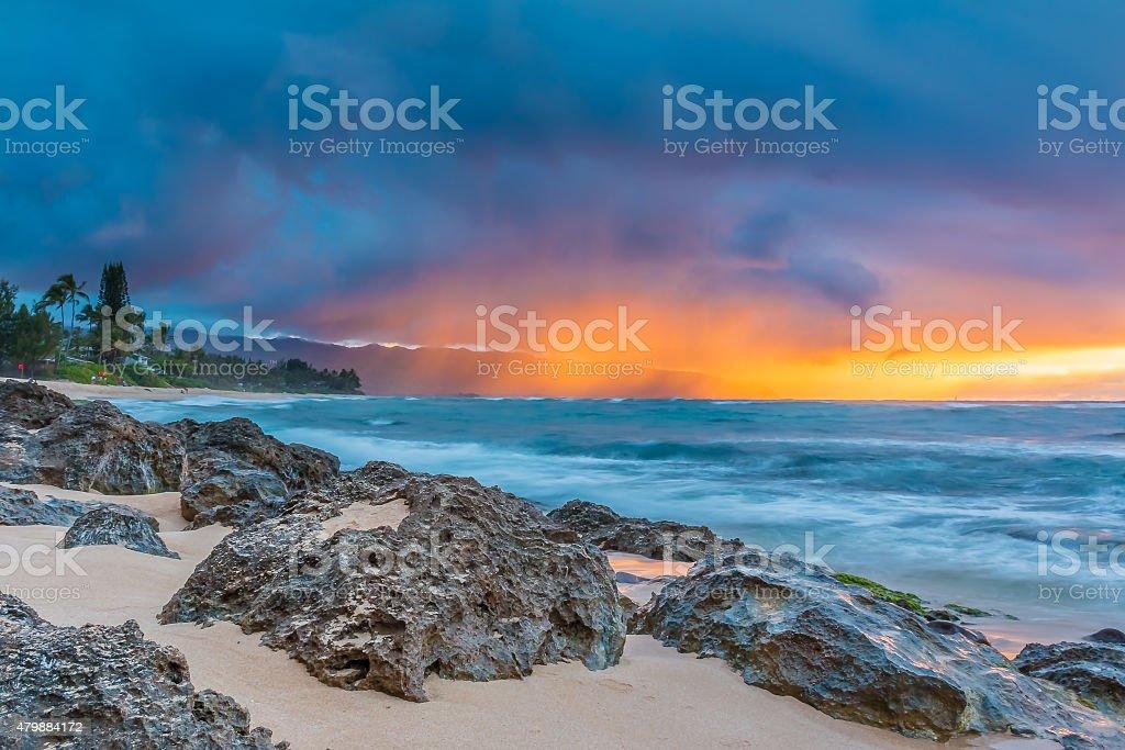 Stunning sunset in Hawaii stock photo