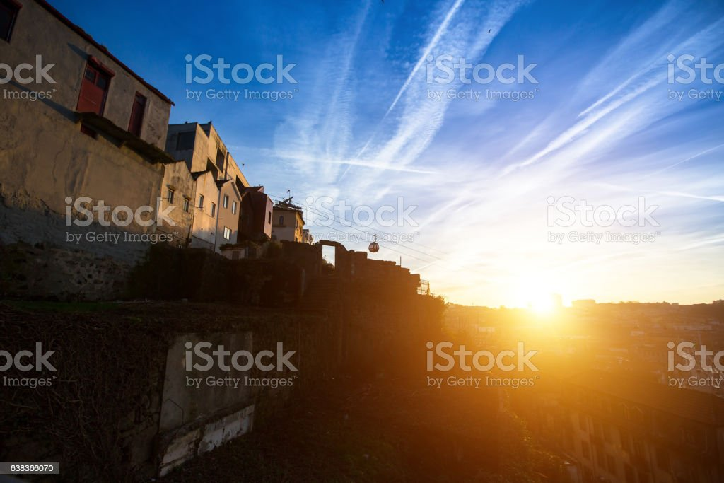 Stunning sunset in Villa Nova de Gaia, Porto, Portugal. stock photo