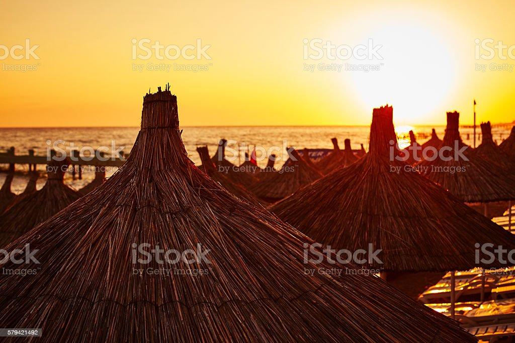 Stunning sunset on seacoast stock photo