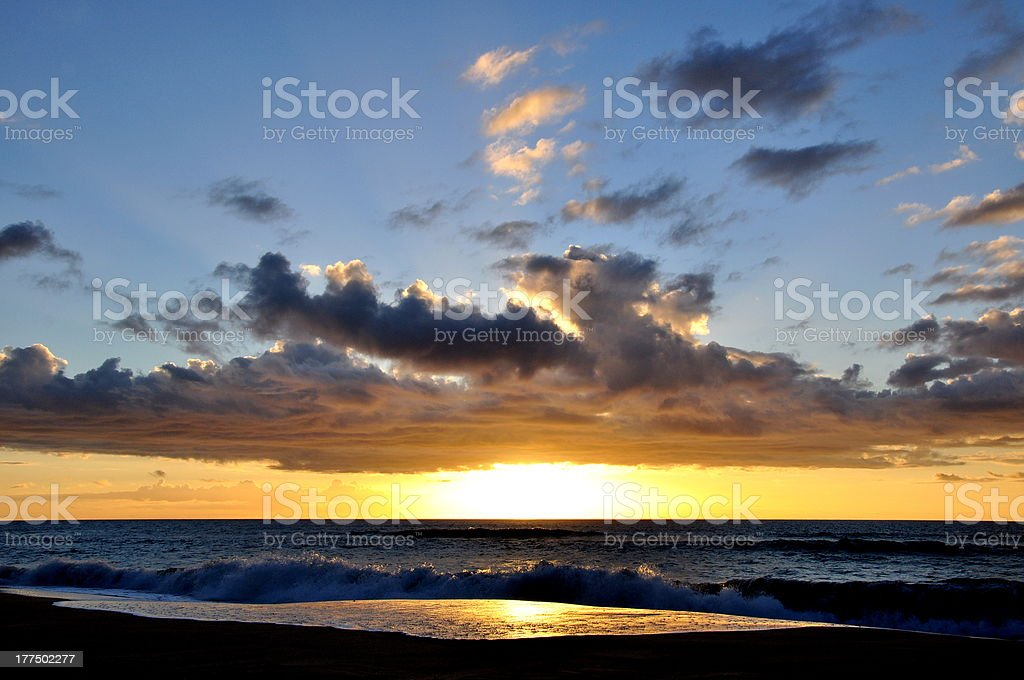 Stunning sunset with clouds - Kauai, Hawaii royalty-free stock photo