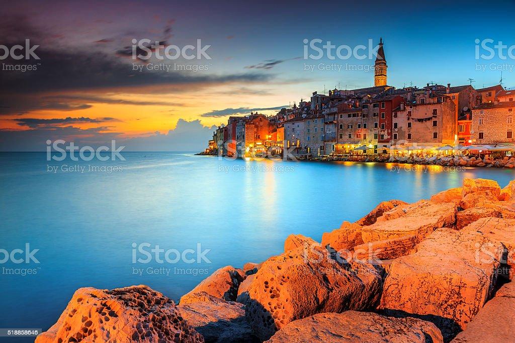 Stunning sunset with colorful sky,Rovinj,Istria region,Croatia,Europe stock photo