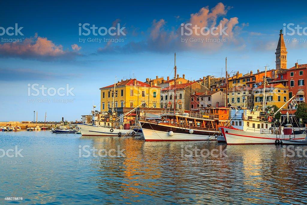 Stunning sunset with Rovinj harbor,Istria region,Croatia,Europe stock photo