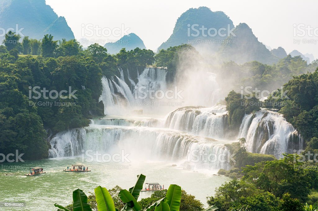 Stunning view at Detian waterfall in Guangxi, China stock photo