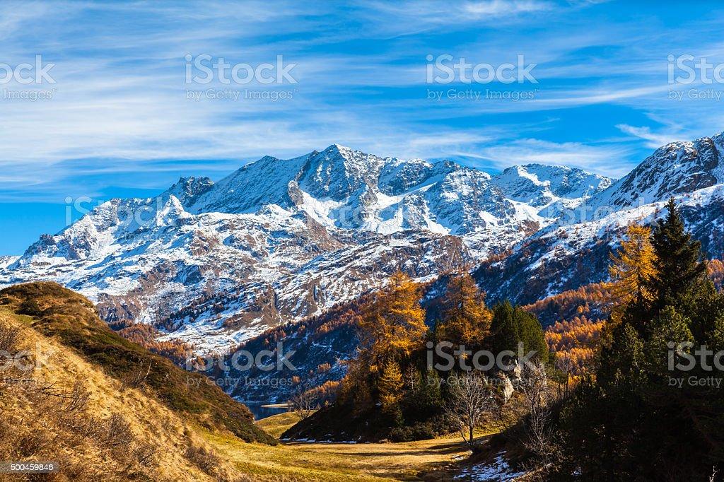 Stunning view Engadin Alps in golden autumn stock photo