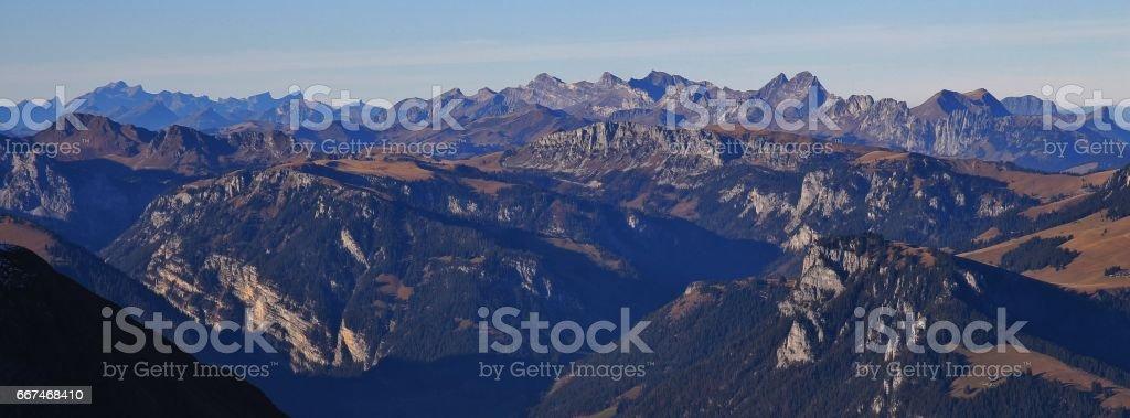 Stunning view from mount Niesen stock photo