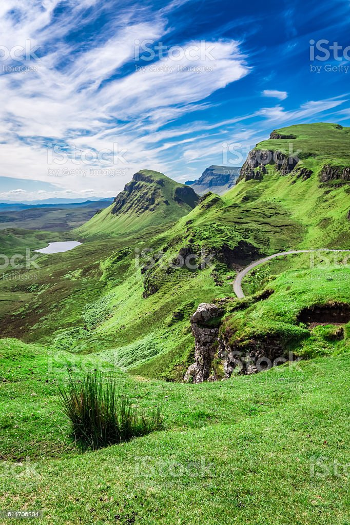 Stunning view from Quiraing in Isle of Skye, Scotland stock photo