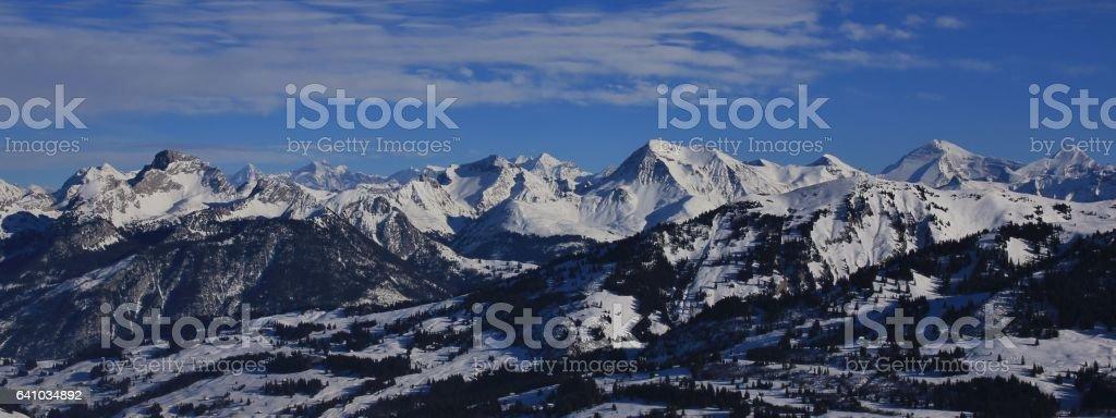 Stunning view from the Rellerli ski area, Switzerland stock photo