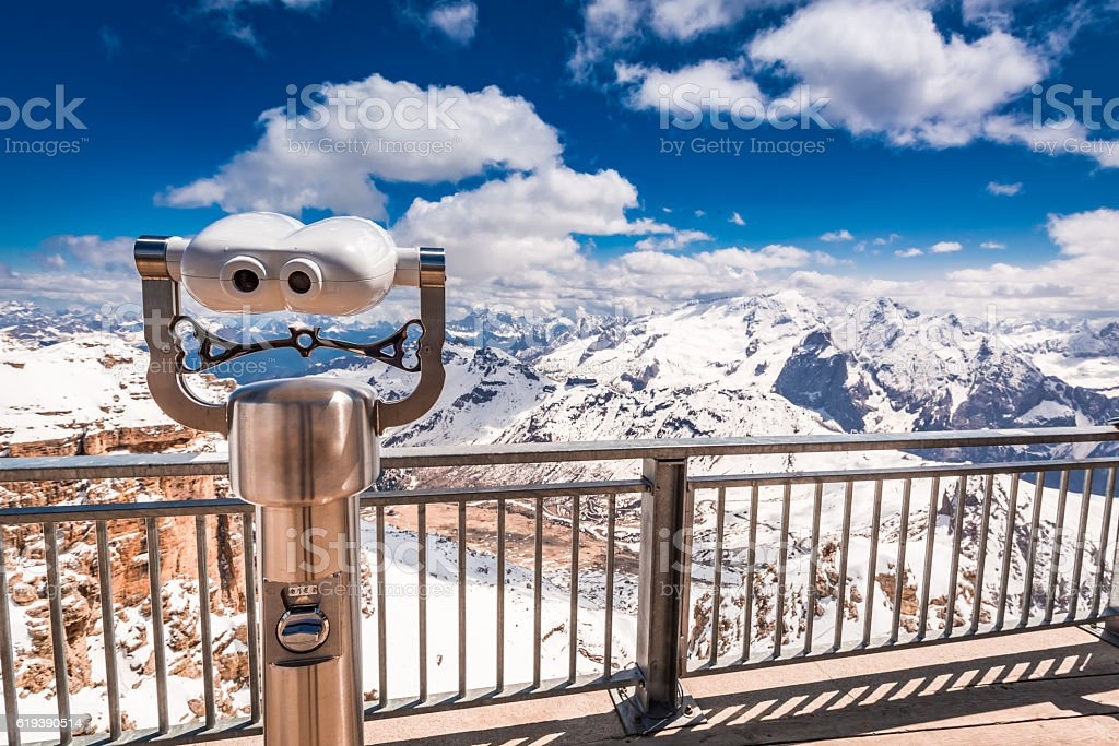 Stunning view from the summit of Sass Pordoi, Dolomites, Italy stock photo