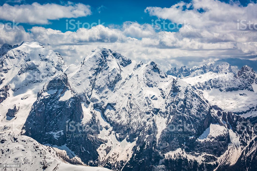 Stunning view from the top of Sass Pordoi, Dolomites, Italy stock photo